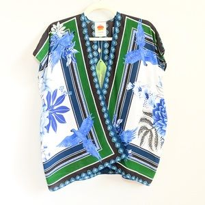 FARM RIO | Anthro Silk Lazule Wrap Blouse NWT | L
